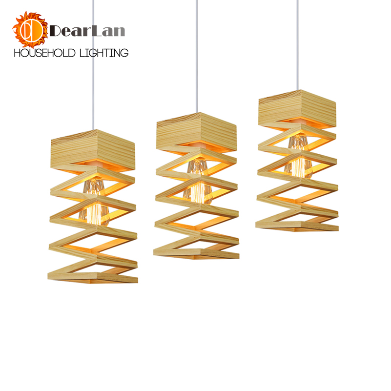 Modern Lamps Pendant Lights Wood Lamp Restaurant Bar Coffee Dining Room LED Hanging Wooden Light Fixture Free Shipping modern lamps pendant lights wood and aluminum lamp black white restaurant bar coffee dining room led hanging light fixture