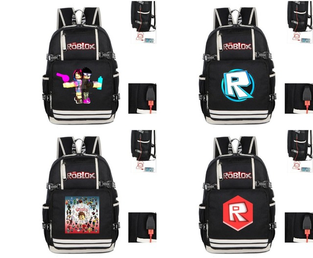 Game Roblox Face R Logo Noob Print Backpack Usb Charging Teenagers