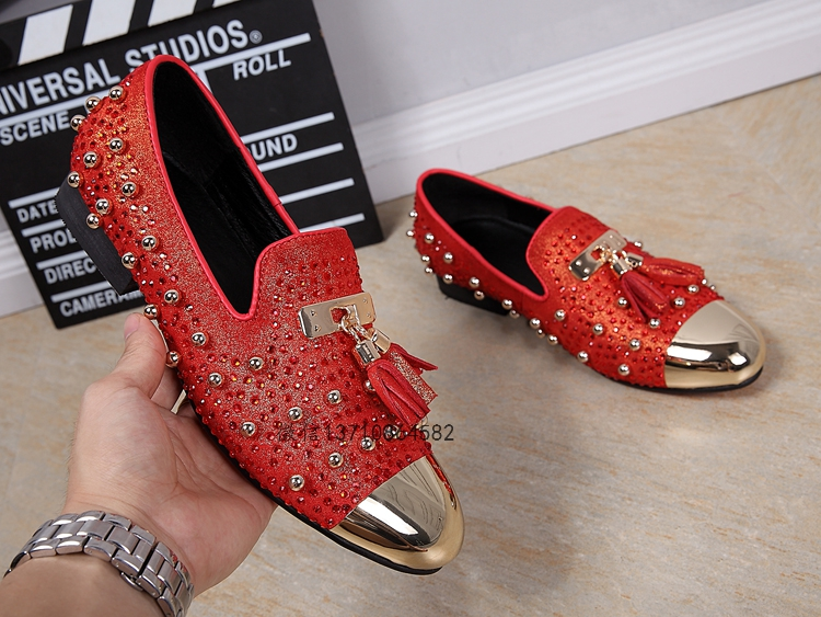 5ddd71619840 2016 fashion suede leather round toe flat shoes european style tassle  rivets men s loafers red brown black flats large size EU46
