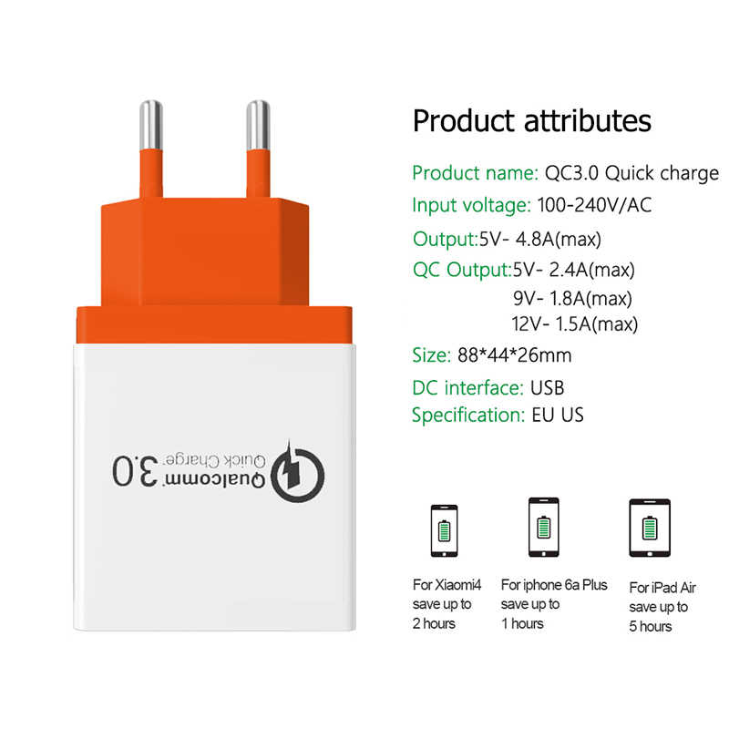 高速壁の充電器サムスン S9 Xiaomi 18 ワット 3 USB 携帯電話の高速壁プラグ iphone × 8 7 Huawei 社