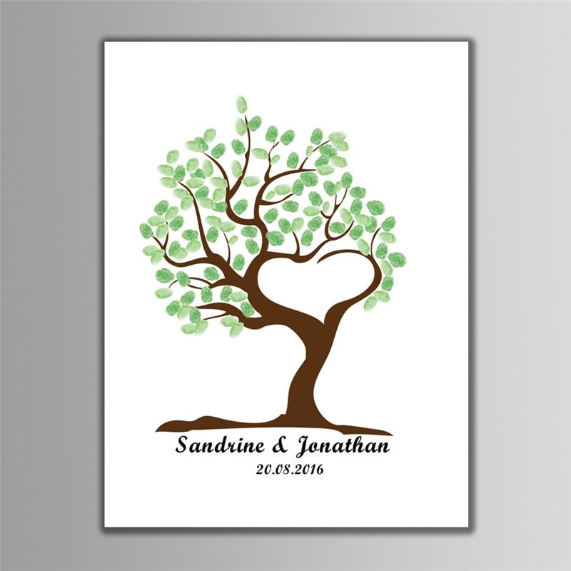 Drei stil Leinwand DIY Fingerabdruck Unterschrift Baum Freies Mit ...