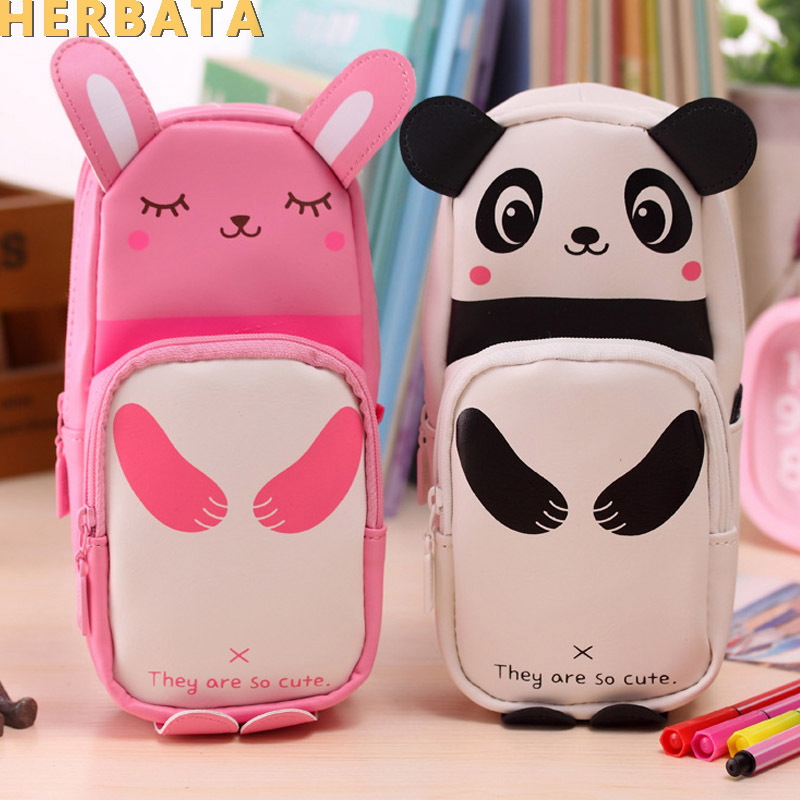 Panda Pencil Case Rabbit Pencil Case Leather Estuche Panda Escolar Estuches School Pencil Box Estojo Escolar Menina Girls Cl1935