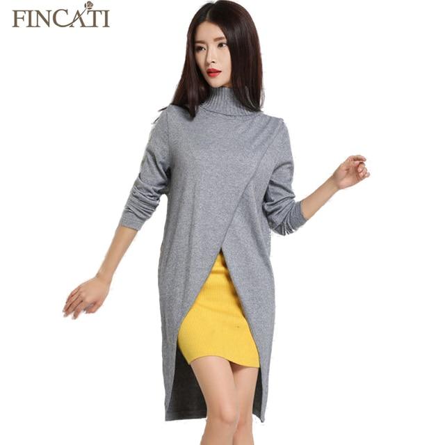 Fincati 2017 Women's Autumn Turtleneck Cashmere Blend Dress Fashion Asymmetrical Hem Knitted Pullover Dresses All Match Knitwear