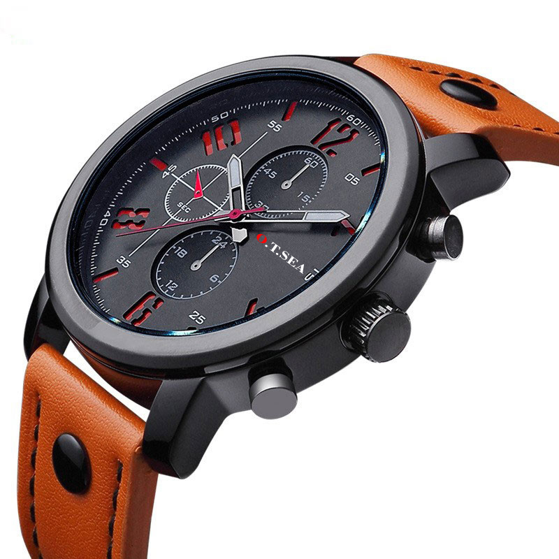 Fashion Top Brand Luxury Military font b Watches b font font b Men b font Leather