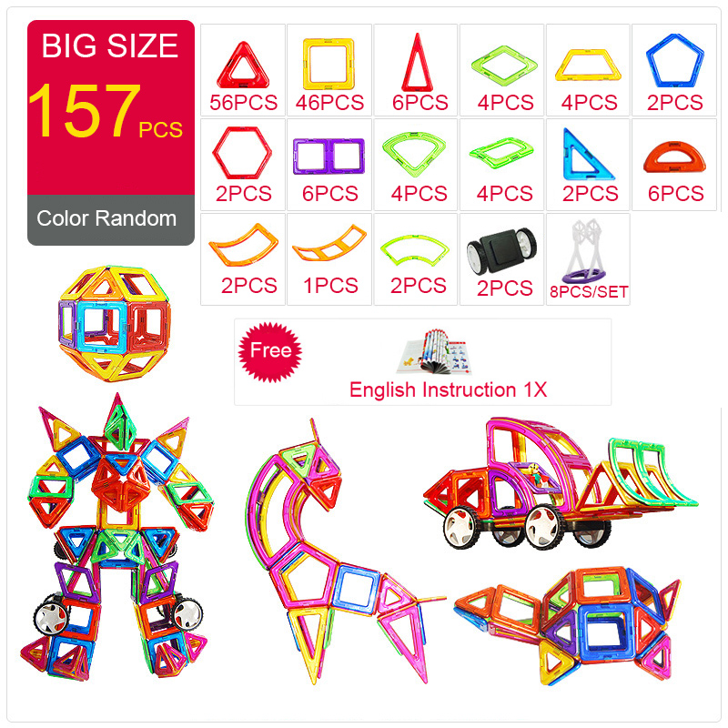 2018 concepteur magnétique Construction & Construction jouets 44-157 pièces grande taille blocs magnétiques bricolage aimants blocs de Construction jouets cadeaux