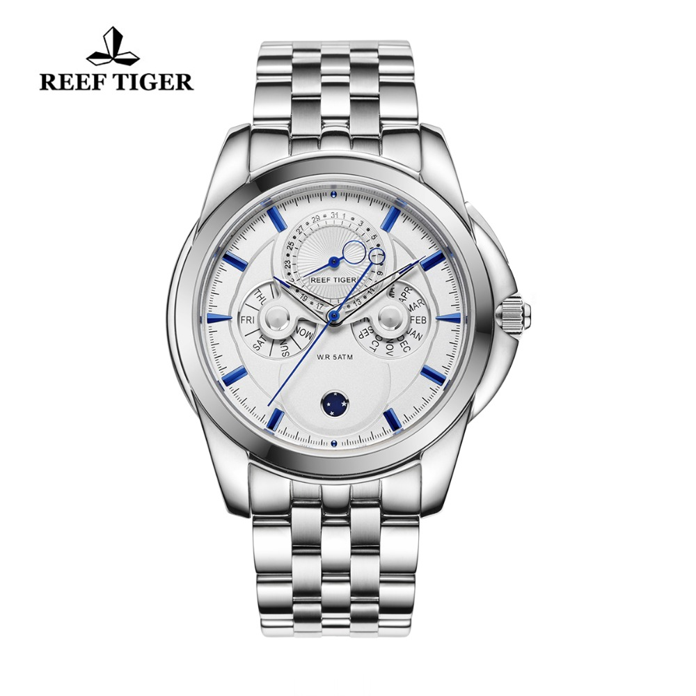 Reef Tiger/RT Men Fashion Watches Stainless Steel Automatic Analog Watches Blue Stick Day Date Watches RGA830 вьетнамки reef day prints palm real teal