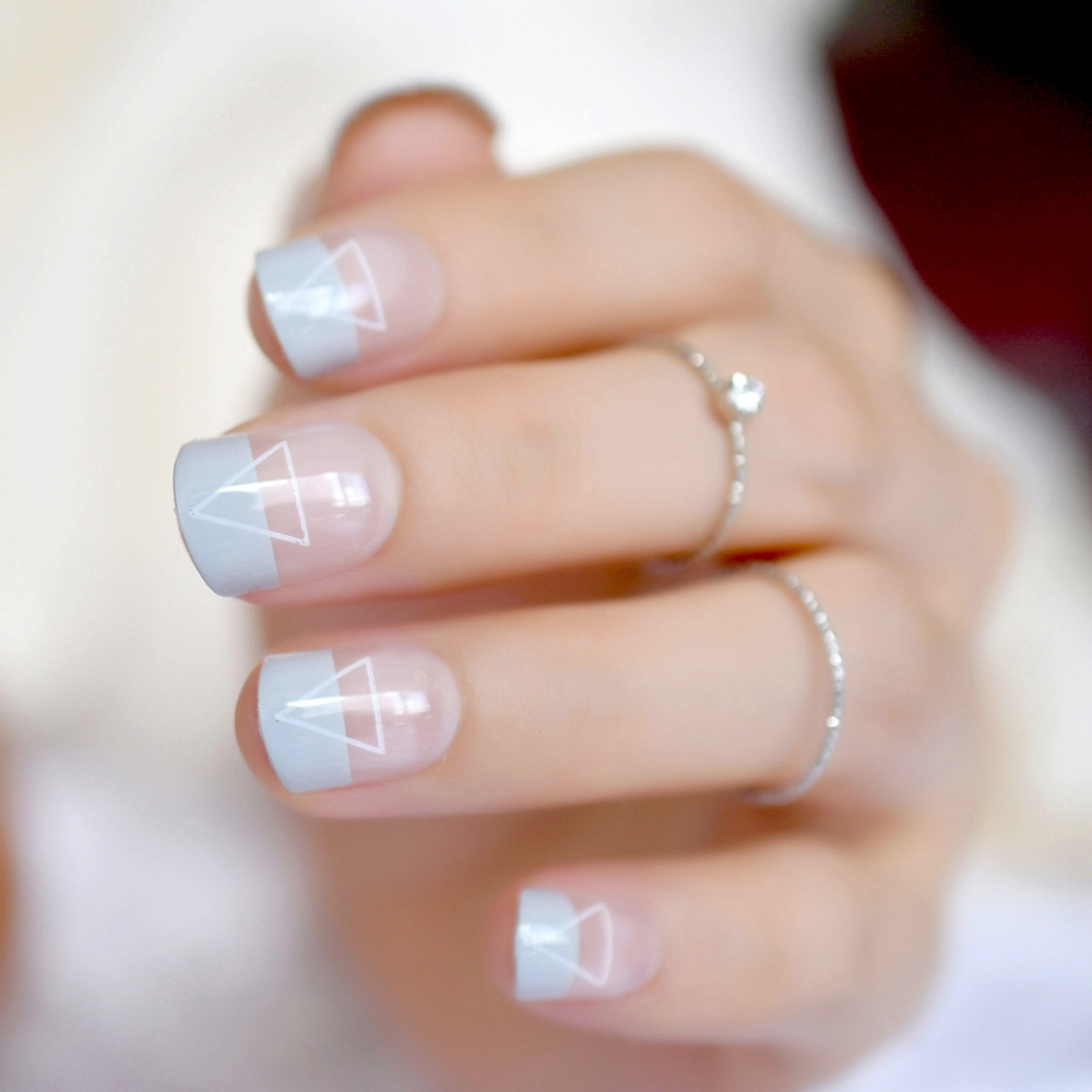 24 Cool French Tip Nail Designs Light Blue Triangle Short Las Fake Nails Clear Tips Daily Wear In False From Beauty Health On Aliexpress