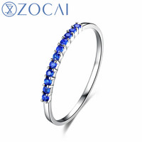 ZOCAI Brand Sapphire ring real natural genuine sapphire 0.14 CT ring 18K white gold gift ring W02308