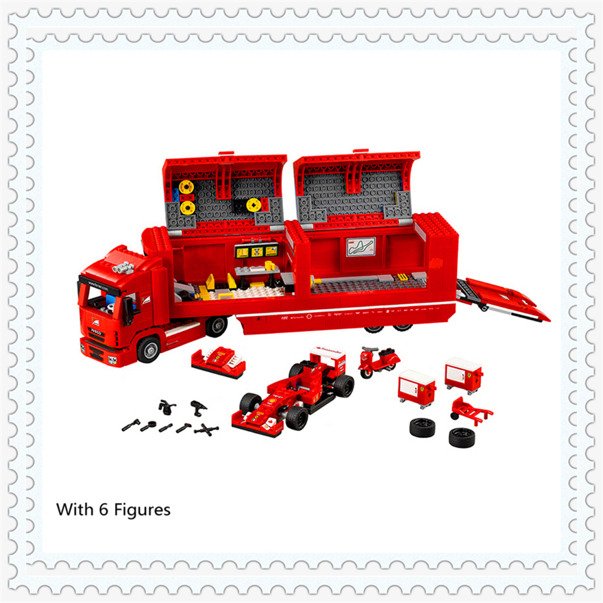 914Pcs Technic Red F1 Racing Car Container Truck Building Block Toys LEPIN 21010 Educational Gift For Children Compatible Legoe new lepin 16008 cinderella princess castle city model building block kid educational toys for children gift compatible 71040