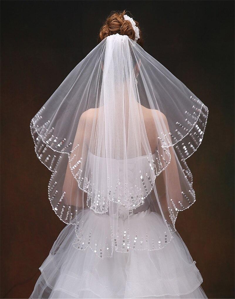 Barato 2015 Tulle De boda del velo blanco marfil con encanto vestido ...