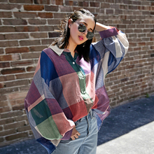 Casual Women Shirt Plaid Turn-down Collar Batwing Sleeve Fashion Tops Blouses 2019 Camisas Mujer