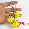 3pcs Hot Anime Cartoon Pokemon Pikachu Keychains Metal Figures Pendants Key Chains Cosplay Pendant bells keychain