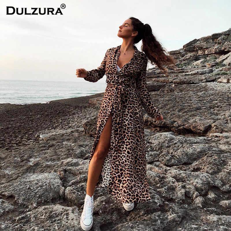 HAWTHAW imprimé léopard ceinture à manches longues avant bouton robe 2018 automne hiver décontracté casual streetwear mi-mollet vêtements