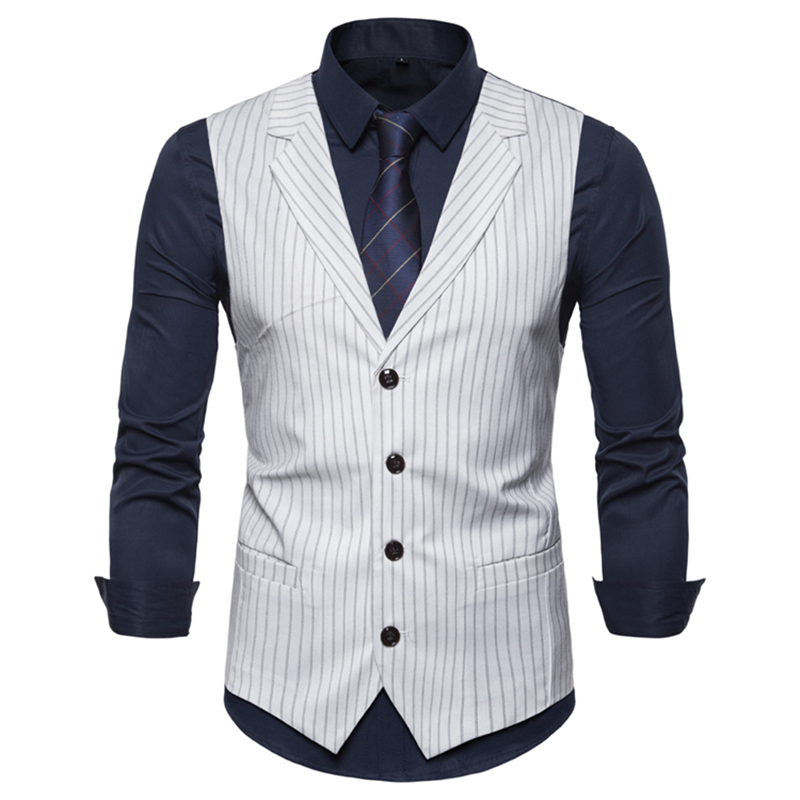 Vest Men Leisure Suits 2019 New Men's Casual Suit With Striped Collar And British Style Single-breasted Waistcoat