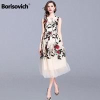 Borisovich Women Summer Long Dress New 2018 Fashion Sleeveless Floral Embroidery High Quality Elegant Women's Party Dresses M685
