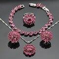 Red Ruby Criado Prata Conjuntos de Jóias de Cor Handmade Colar Pingente Pulseiras Brincos Anéis Para As Mulheres de Natal Caixa de Presente Livre