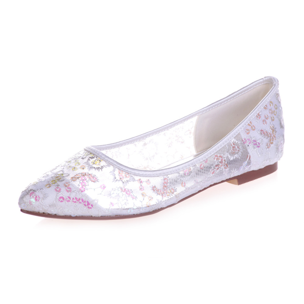 aac452bebe34 Creativesugar Pointed toe perspective see through lace ballet flats  sparkling sequins shoes sky blue pink red ivory white gold-in Women s Flats  from Shoes ...