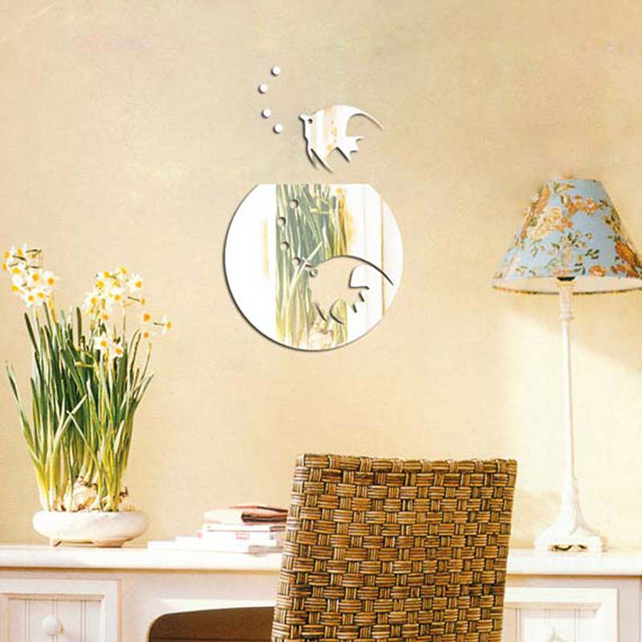 acrylic tropical fish wall decoration decals thick plastic mirror ...