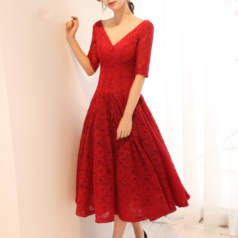 In Stock Onepiece Plus Size Red Half Sleeve Short Party Dresses Deep V-Neck Backless Robe De Soiree A-Line Lace Gala Jurken