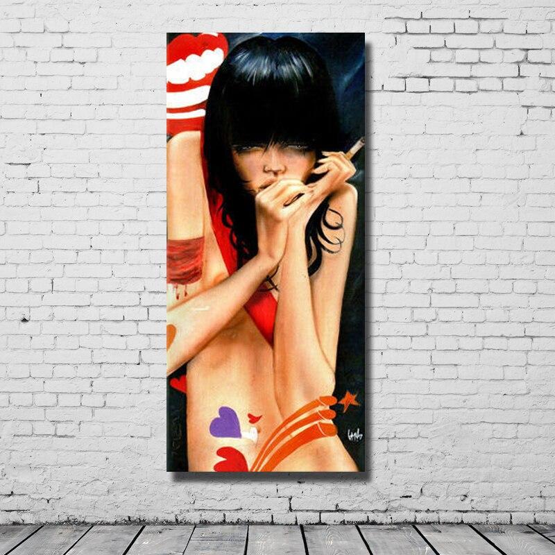 Fumer fille image moderne main peinture grand mur photos pour salon décoration multi panneau mur de toile art