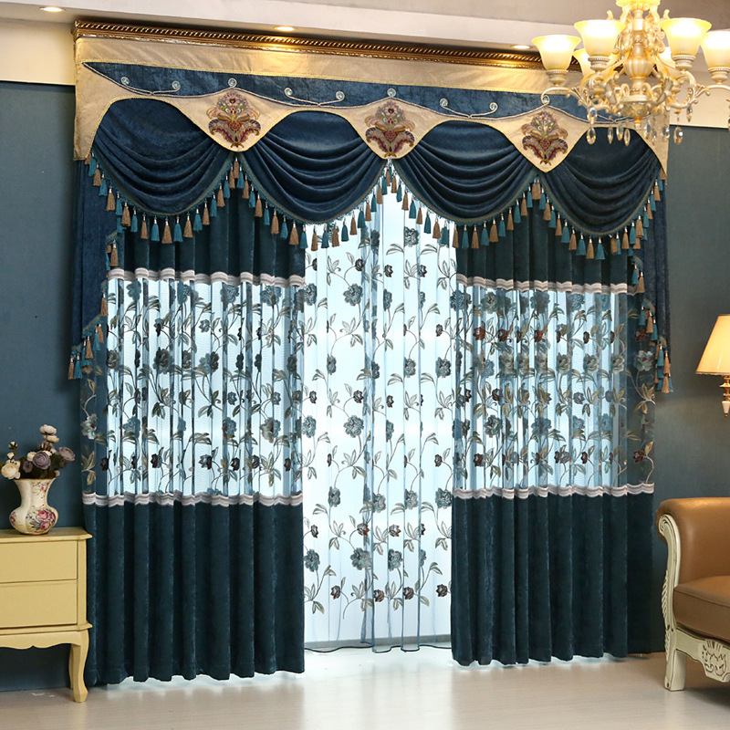 European Chenille Fabric Embroidered Stereoscopic Floral Blue Cortina  Window Curtains Luxury Valance Curtain For Living Room