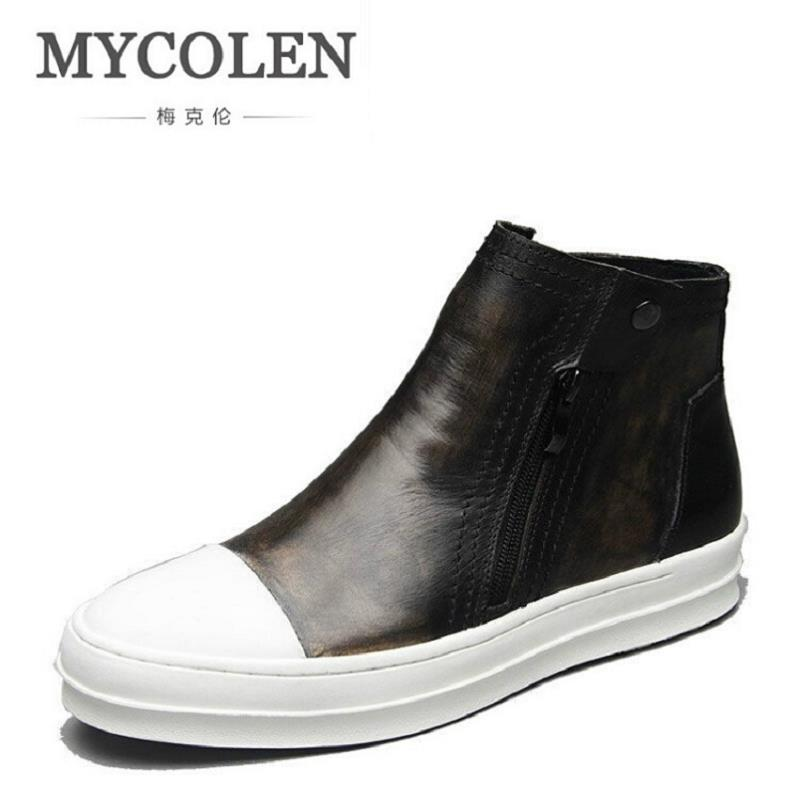 MYCOLEN Winter Mens Chelsea Boots Top Brand Genuine Leather Ankle Boots Slip On Comfort Footwear Round Toe Casual Man Shoes farvarwo formal retro buckle chelsea boots mens genuine leather flat round toe ankle slip on boot black kanye west winter shoes