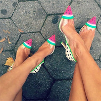 New Design Cute Watermelon Dot Women Pumps Jessica High Heels Wedding Shoes Woman Slip On PVC Leather Women Shoes Zapatos Mujer