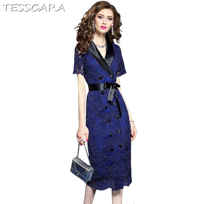 TESSCARA Women Spring Summer Elegant Lace Dress Female Office Lady Pencil Robe Femme High Quality Designer