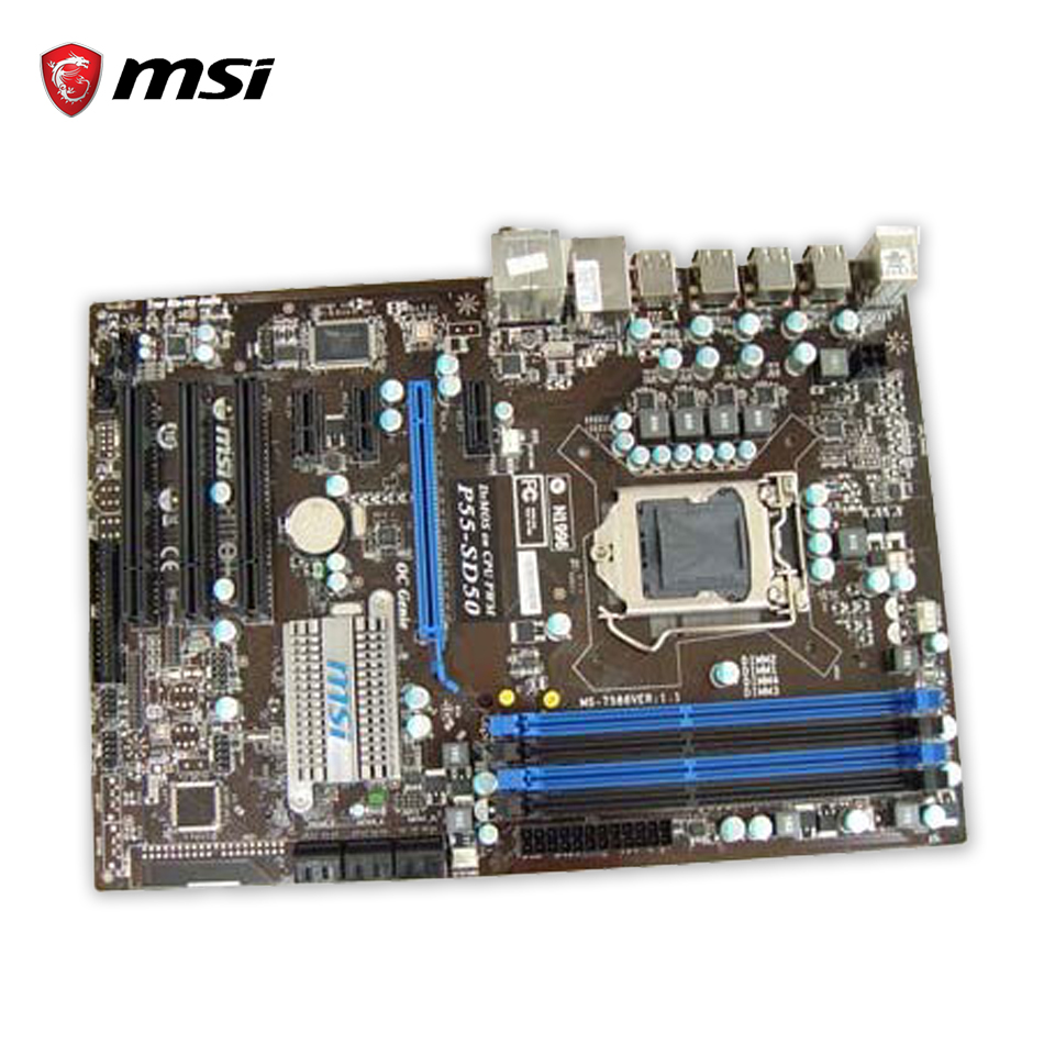 MSI P55-SD50 Original Used Desktop Motherboard P55 Socket LGA 1156 i5 i7 DDR3 16G SATA3 USB2.0 ATX