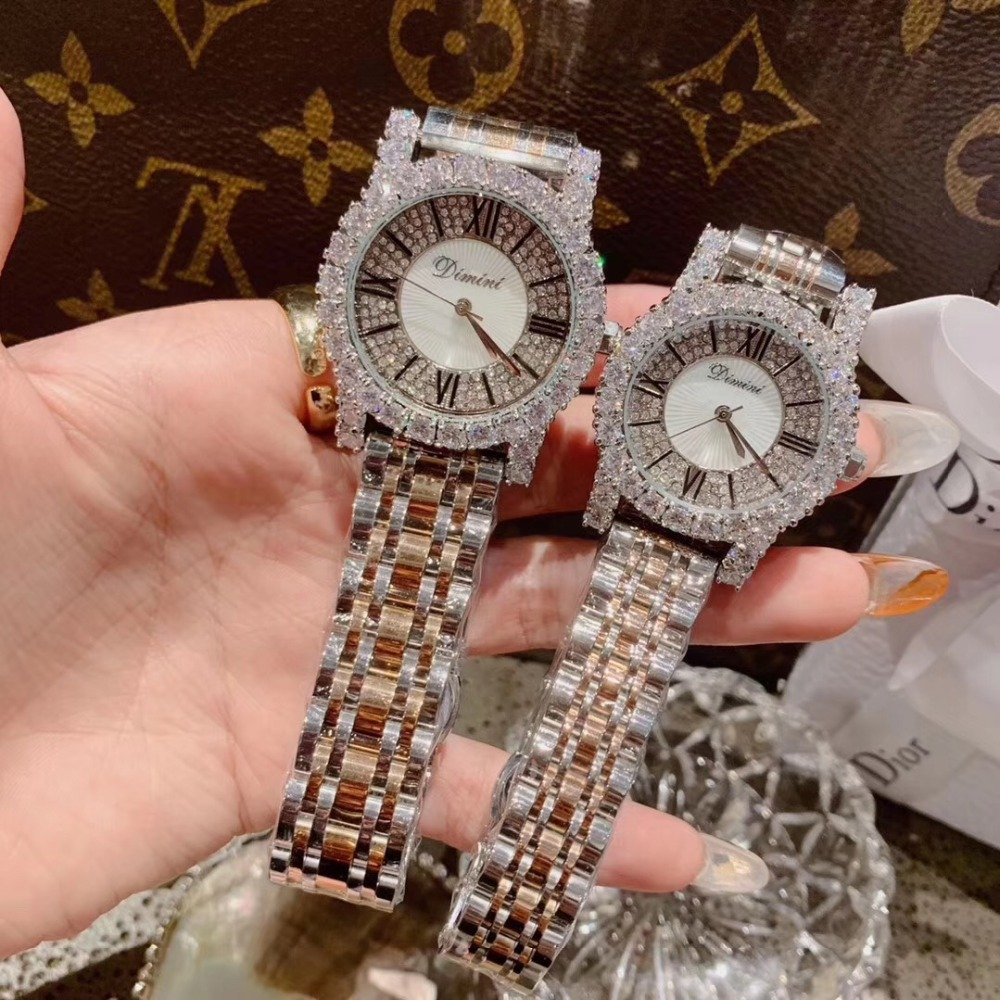 2 tailles classique numéro romain femmes affaires montres de luxe strass Bracelet montre Quartz Shell visage analogique diamant montre-Bracelet 3