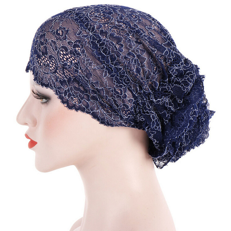 5ac094737 Winter Hats Women for Muslim Ruffle Lace Cancer Chemo Hat Beanie Scarf  Turban Head Wrap Cap bonnet homme #815