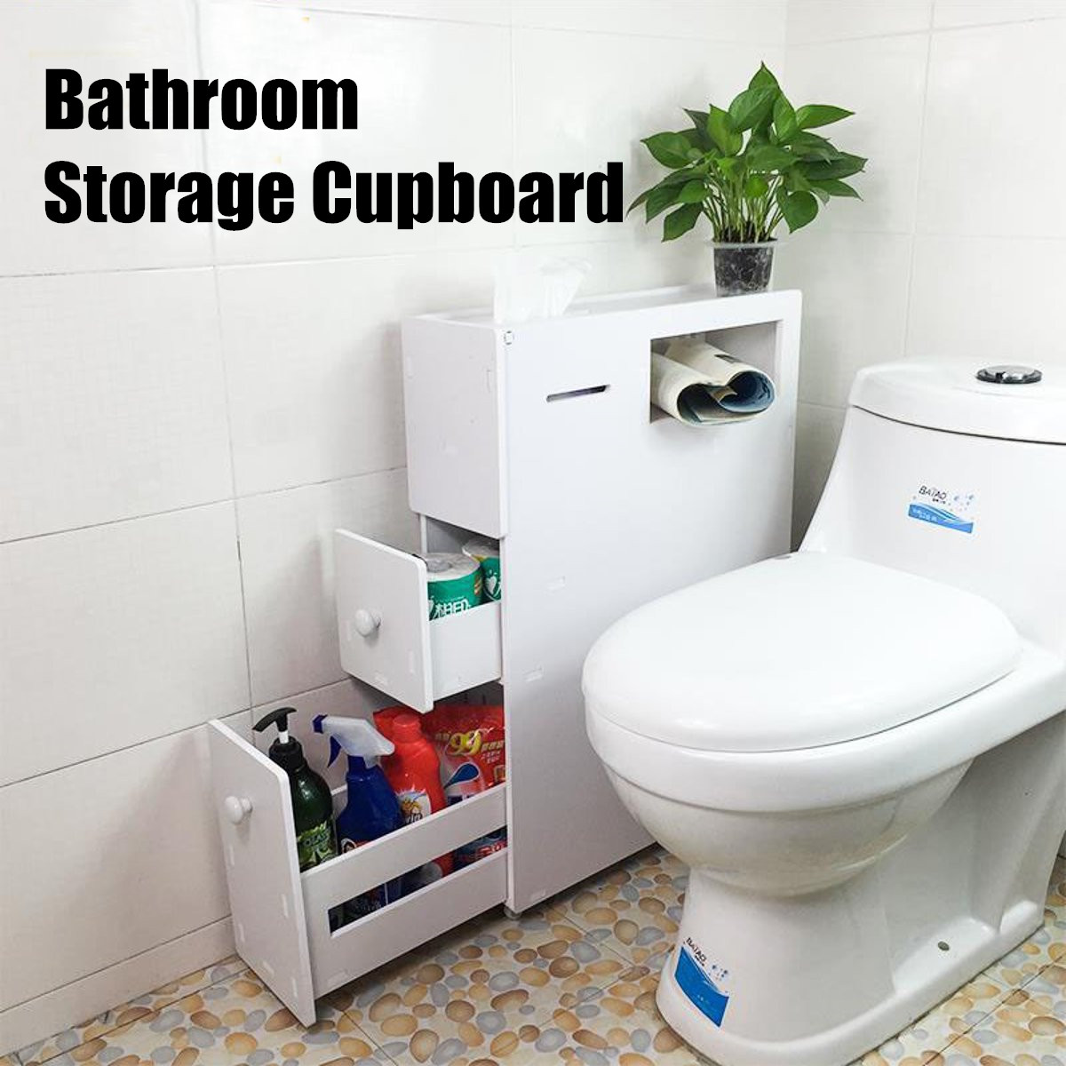 PVC Wood Bathroom Cabinet With Braked Wheels Home Furniture Waterproof Toilet Storage Cabinets Organizer Cupboard White