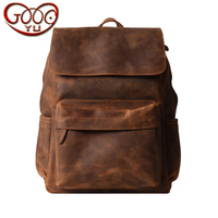 Casual crazy horse leather men travel large capacity shoulder bag first layer of leather covered youth computer bag