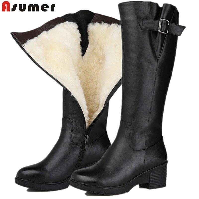 ASUMER taille 35-43 de mode véritable bottes en cuir bout rond zip mi-mollet bottes femmes en peau de mouton laine d'hiver garder chaud bottes de neige
