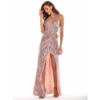 MUXU sequin pink dress glitter vestido vestidos women maxi sexy robe femme ete 2018 dresses long plus size party clothes autumn