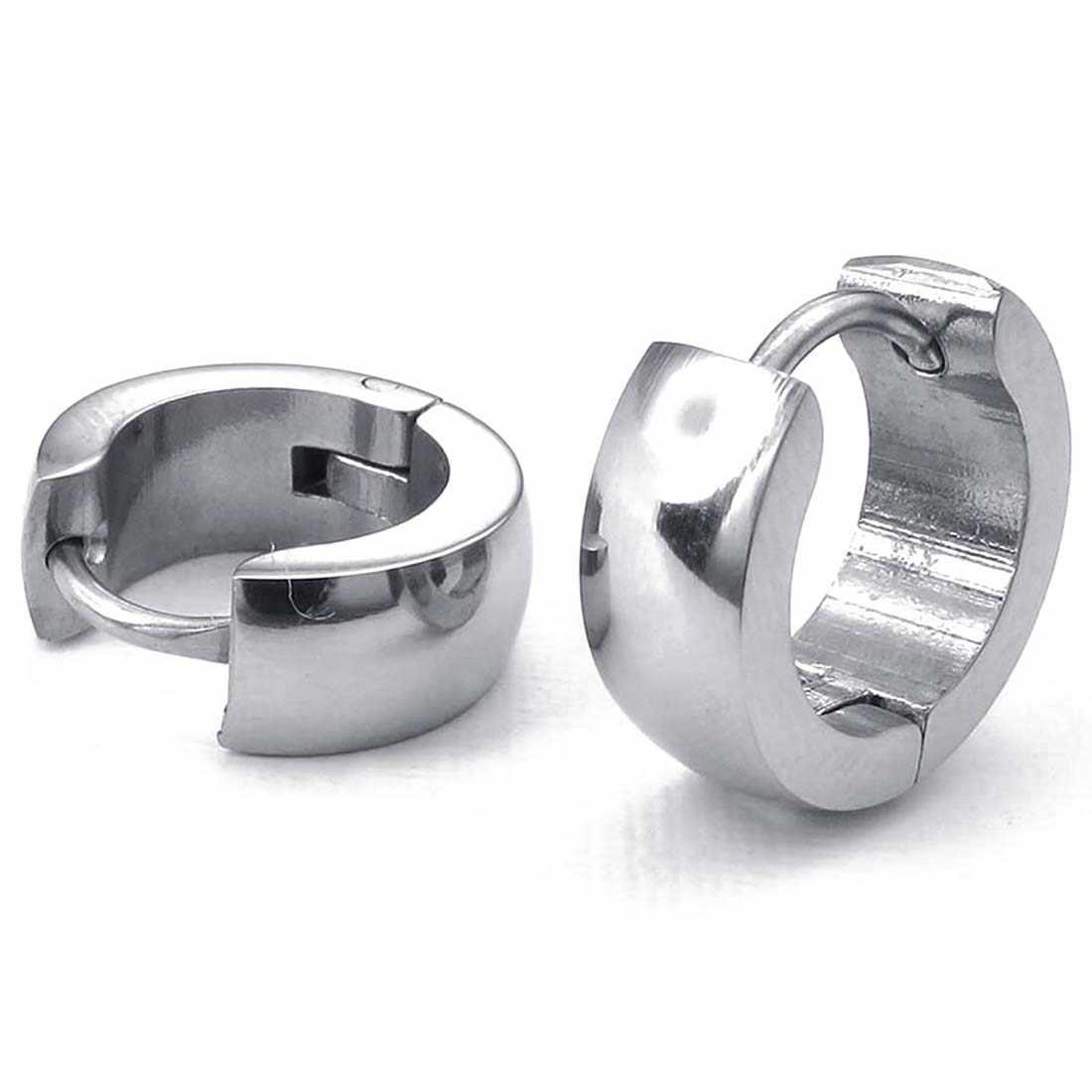เครื่องประดับต่างหู-ออกแบบบานพับแหวน-สแตนเลสสตีล-สำหรับบุรุษและสตรี-เงิน-ของขวัญกระเป๋า