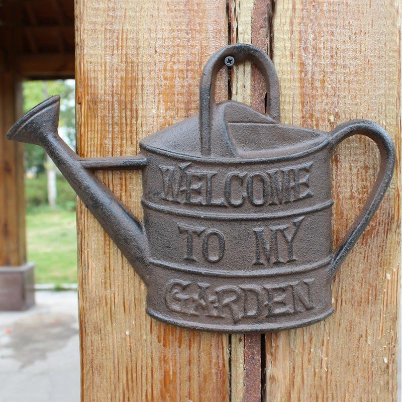 Pot d'arrosage Vintage européen Design en fonte bienvenue dans mon jardin signes maison jardin décoration murale Plaques plaque