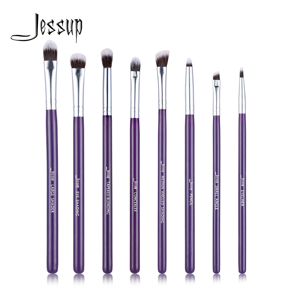 Jessup Brand Purple/Silver 8pcs Eye brush Set blending Eyeshadow angled Eyeliner smoked bloom makeup brushes Beauty Cosmetics 1 pc eyeshadow brushes sponge portable cosmetics makeup eye shadow eyeliner lip brush applicator for women beauty maquillage z35