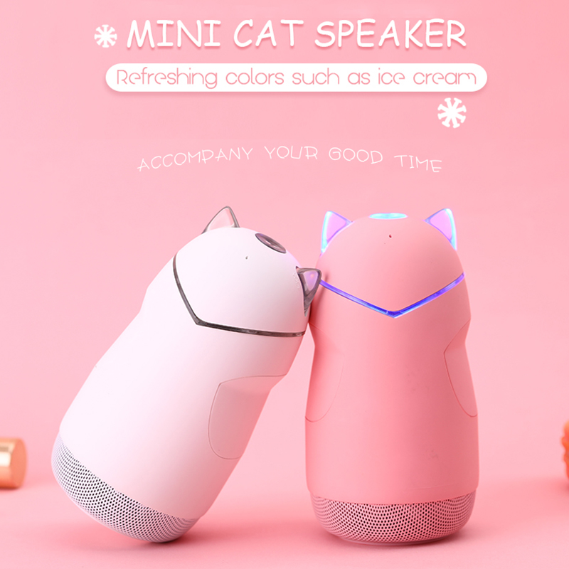 Cute Cat Bluetooth Speaker Mini Wireless Portable LED Light Stereo Music Column Sound Box Outdoor TF Card Play Hands free Calls