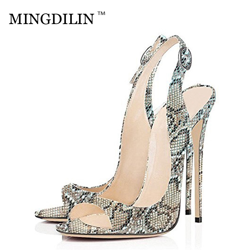 MINGDILIN Summer Women's Leopard Print Heels Sandals Sexy High Heels Woman Shoes Women's Open Toe Heels Sandals Zapatos Mujer цена 2017