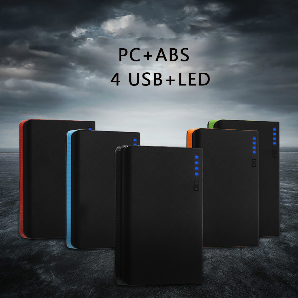 New 4USB LED Indicator 30000mah Power Bank Fast Charge Battery Pack for Mobile Phones with LED Light