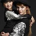Nuevo estilo 2016 de primavera marca caliente Sudadera O-cuello Del Suéter de manga Larga de La Camiseta Ropa Para La Madre y La Hija Ropa de Paternidad