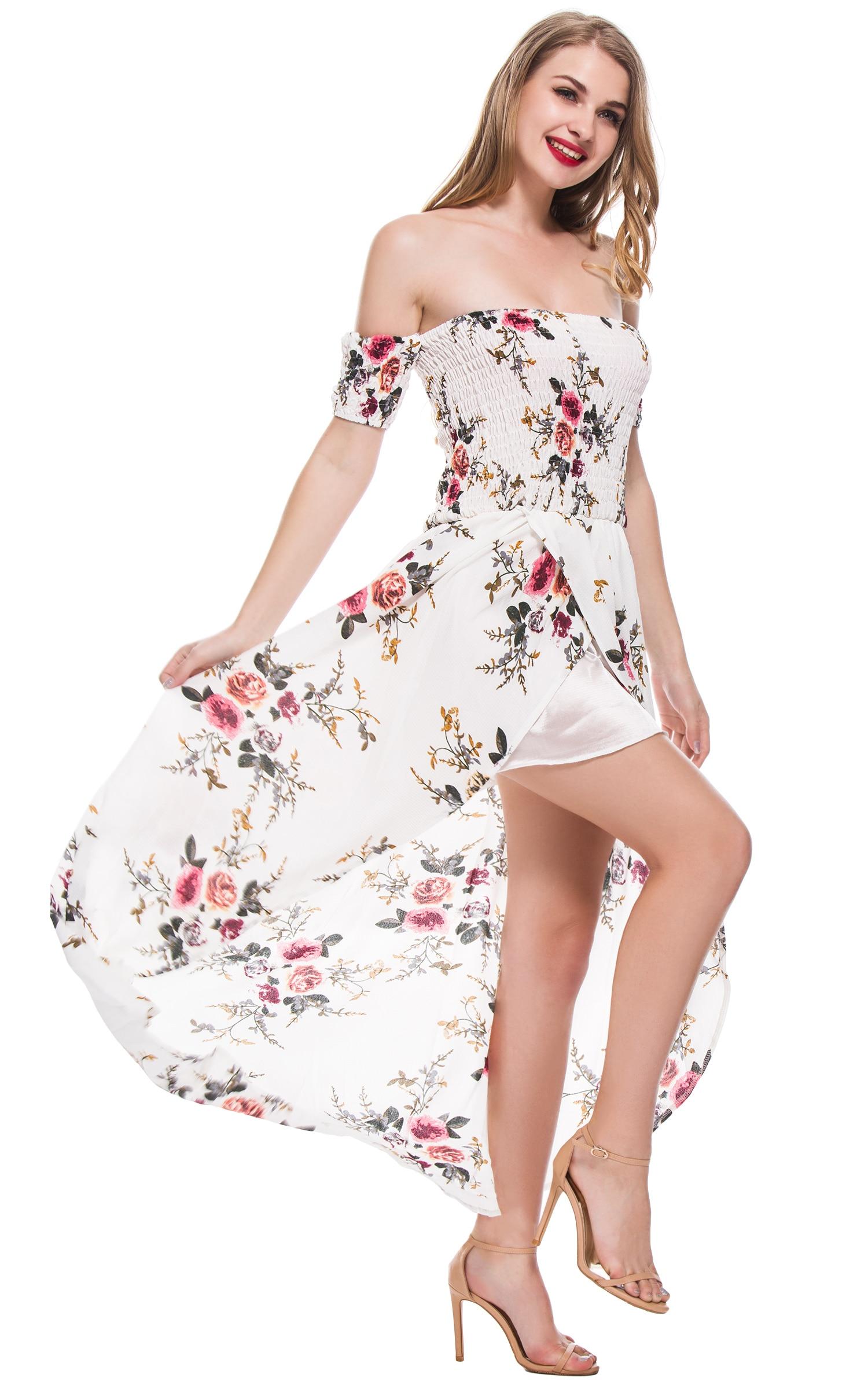 Witte lange jurk met split