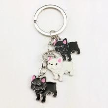 French Bulldog keychain key rings for men women girls silver color metal pet dog pendant bag charm car key chain holder keyring