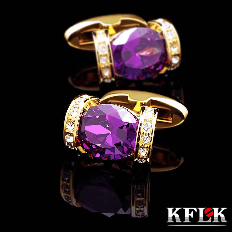 KFLK jewelry fashion shirt cufflinks for women Brand cuff button Purple Crystal cuff links High Quality Gold-color Free Shipping
