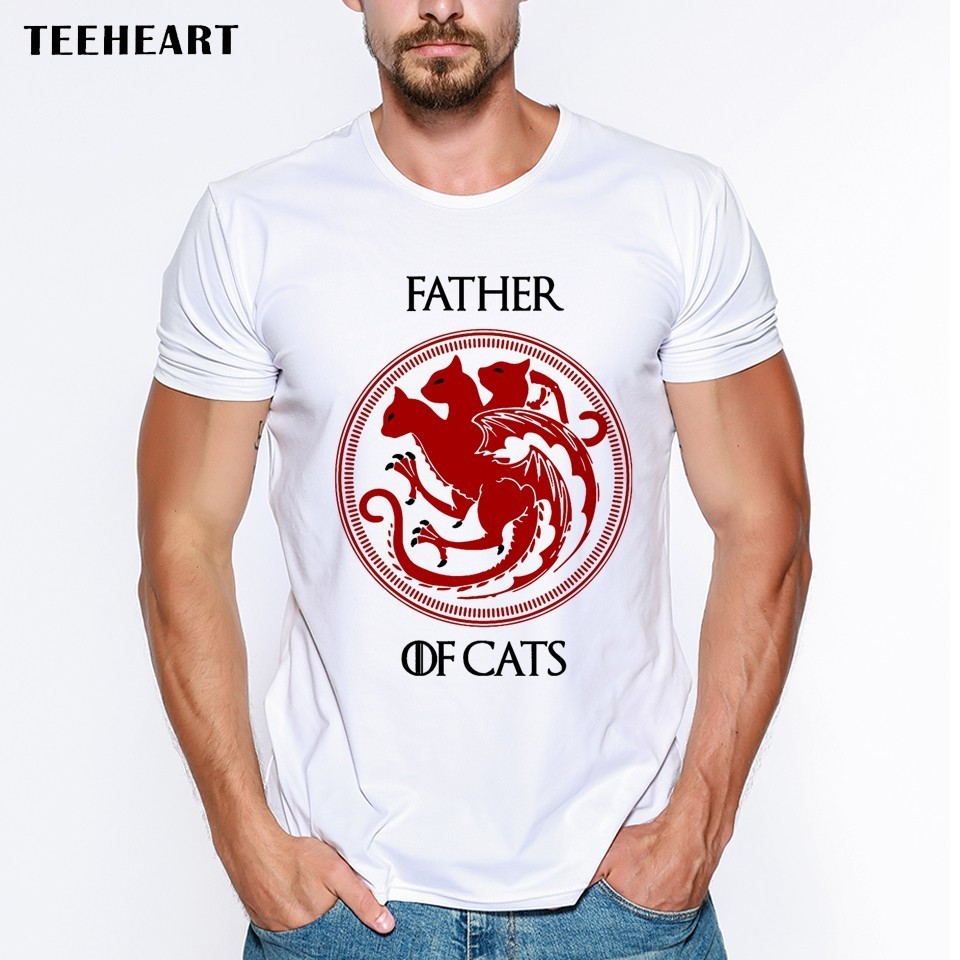 Father Of Cats Men   T  -  shirt   Letter Printed Funny   T     Shirts   Short Sleeve Casual O-neck Hipster Tops