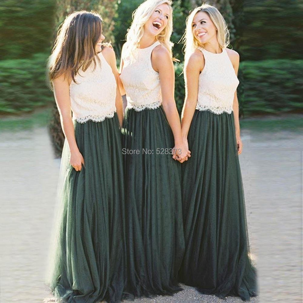 YNQNFS BD27 Elegant A-line 2 Colors Ivory Lace Top Emerald Green Tulle Skirt   Bridesmaid     Dresses   Long
