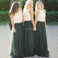 YNQNFS BD27 Elegant A line 2 Colors Ivory Lace Top Emerald Green Tulle Skirt Bridesmaid Dresses Long
