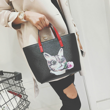 Autumn winter all match shoulder bag fashion cartoon floral print handle bag dog cat print messenger bag for young lady