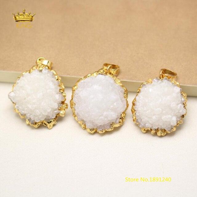 5pcs natural white druzy quartz sun flower pendants jewelryraw 5pcs natural white druzy quartz sun flower pendants jewelryraw drusy solar quartz plated gold mozeypictures Images